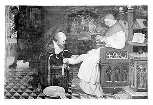 Guy de Chauliac bandaging the leg of Pope Clement VII at Avi Wellcome M0001839.jpg