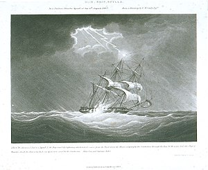 H.M. Ship Scylla. In a Perilous Thunder Squall at sea 6th August 1843. From a Drawing by N.M. Condy Esqre RMG PU6075.jpg