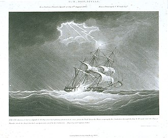 HMS Scylla (1809) - Image: H.M. Ship Scylla. In a Perilous Thunder Squall at sea 6th August 1843. From a Drawing by N.M. Condy Esqre RMG PU6075