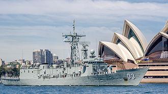 HMAS Sydney (FFG 03) - HMAS Sydney (FFG 03) during the International Fleet Review 2013