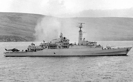 HMS Antelope smoking after being hit, 23 May HMS Antelope 1982.jpg