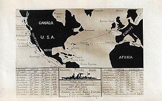 HMS Delhi (D47) - HMS Delhi voyage map, May 1932