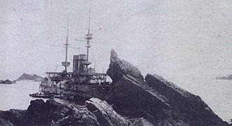 HMS Montagu (1901) - HMS Montagu aground on Lundy Island in 1906.