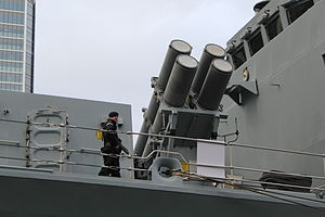 HMS Northumberland (F238) - Harpoon anti-ship missile launchers aboard Northumberland