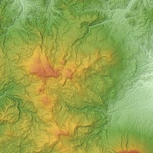 Mount Hachimantai - Image: Hachimantai Volcano Group Relief Map, SRTM 1