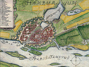Binnenalster - Map of Hamburg around 1660