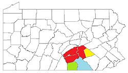 Map of the Harrisburg–York–Lebanon, PA Combined Statistical Area (CSA), composed of the following parts:   Harrisburg–Carlisle metropolitan statistical area (MSA)   Lebanon, PA Metropolitan Statistical Area (MSA)   Gettysburg, PA Metropolitan Statistical Area (MSA)   York–Hanover, PA Metropolitan Statistical Area (MSA)