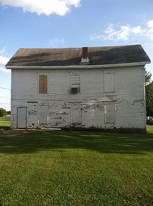 Harrisburg, Missouri - North facade of the Harrisburg school and masonic lodge