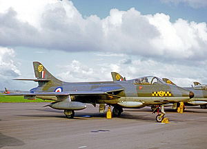 No. 63 Squadron RAF - Operational Hawker Hunter F.6 of No. 63 (Shadow) Squadron at its RAF Chivenor base in 1969.