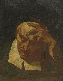 Head study of an elderly man reading