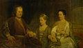 Hermanus Boerhaave (1668-1738). Hoogleraar in de geneeskunde te Leiden met zijn vrouw Maria Drolenvaux (1686-1746) en dochtertje Johanna Maria (1712-1791) Rijksmuseum SK-A-4034.jpeg