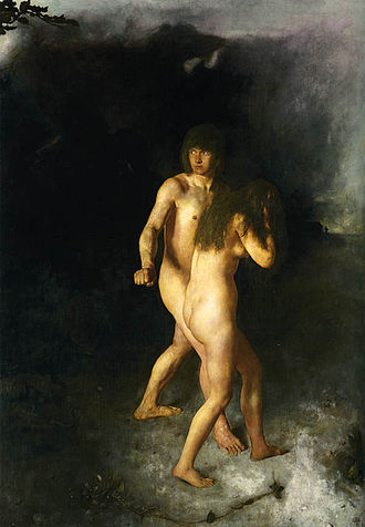 Eve - Adam and Eve expelled from Eden, by Hans Heyerdahl, 1877