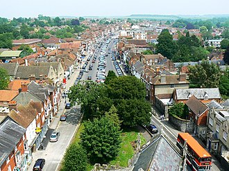 Marlborough, Wiltshire - Image: High Street, Marlborough from St Peter's church roof geograph.org.uk 460662