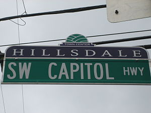 Hillsdale, Portland, Oregon - Hillsdale neighborhood street sign topper