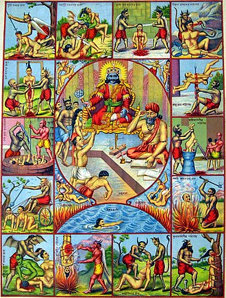 Naraka - A large central panel portrays Yama the god of death (often referred to as Dharma) seated on a throne; to the left stands a demon. To the right of Yama sits Chitragupta, assigned with keeping detailed records of every human being and upon their death deciding how they are to be reincarnated, depending on their previous actions.