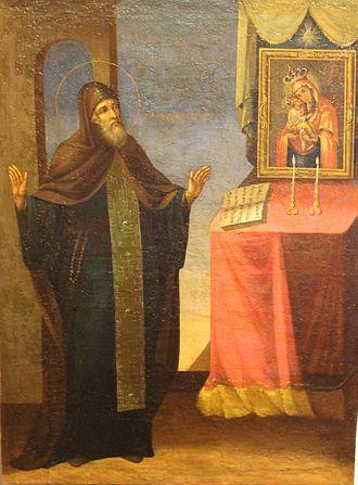 Job of Pochayiv - Job of Pochayev (1551-1651), the igumen of Pochayv Monastery. Oil, canvas, the end of the 19th century