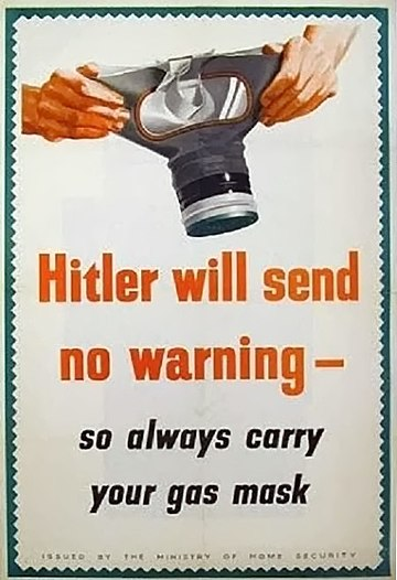 A publicity poster from Britain during World War II calling for vigilance against chemical weapons.