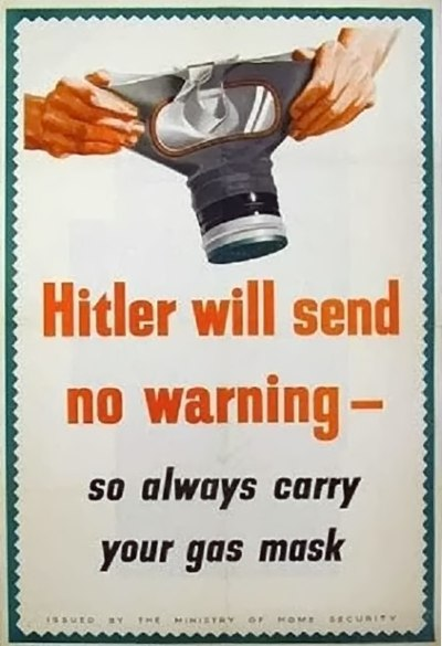 British Ministry of Home Security poster of a type that was common during the Phoney War Hitlerwarn.jpg