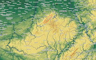 High Fens - Ardennes and Eifel highlands; the ellipse marks the location of the High Fens.