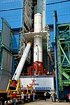 Hoisting of one of the Strap-ons of PSLV-C44 during vehicle integration.jpg