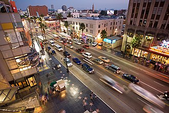 Hollywood Walk of Fame - The Walk of Fame at the 6800 block of Hollywood Boulevard, looking eastward. The Dolby Theatre is in the foreground at left. In the upper left quadrant is the famous intersection of Hollywood and Highland.