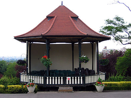A bandstand is an example of a small outdoor venue. Bandstands are typically circular or semicircular structures that accommodate musical bands performing outdoor concerts, providing shelter from the weather for the musicians. HornimanBandstandsmall.jpg
