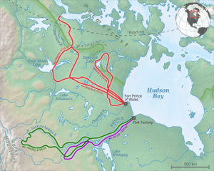Samuel Hearne - Map of Samuel Hearne's second and third expeditions (red)