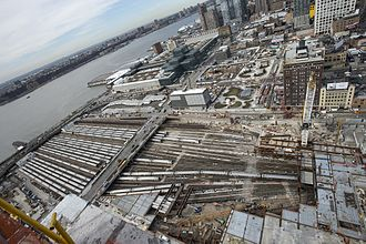 Hudson Yards, Manhattan - Aerial view of location of the Hudson Yards area, including the rail yard in the foreground, the Javits Center on the upper left, and the blocks between Tenth and Eleventh avenues up to 43rd Street.