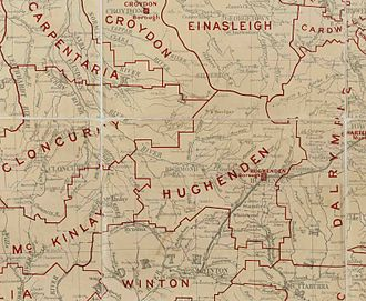 Shire of Flinders (Queensland) - Map of Hughenden Division and adjacent local government areas, March 1902