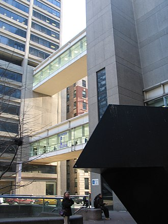 Hunter College - View of the bridges between the East and West Buildings, the subway entrance, and Tony Smith's Tau