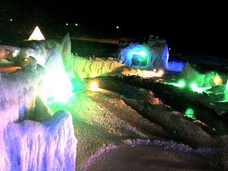 Sōunkyō - Illuminated ice statues in the Sōunkyō Hyōbaku Festival