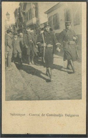 Komitadji - A convoy of captured Bulgarian Comitadjis in Salonica.