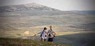 Adam Watson (scientist) - Dr Adam Watson and colleague carrying out annual snow-patch survey from Glas Maol, Gleann Beag, July 2009. Photograph by Allan Cameron.