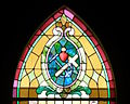 Immaculate Conception Church (Sutter Creek, California) - stained glass, Sacred Heart with symbols of martyrdom.jpg