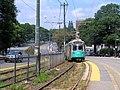 Inbound train at Chestnut Hill Avenue, August 2016.JPG