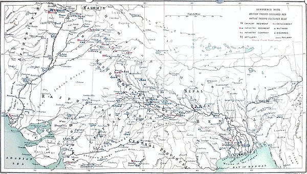 Map showing distribution of troops on 1 May 1857 and positions during mutiny - Indian Rebellion of 1857