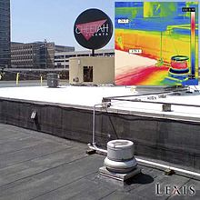 Infrared image shows excellent heat reflective properties of elastomeric roof coatings.
