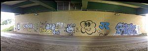 Ingleby Barwick - Graffiti on the bridge over the Tees on Queen Elizabeth Way, 2006