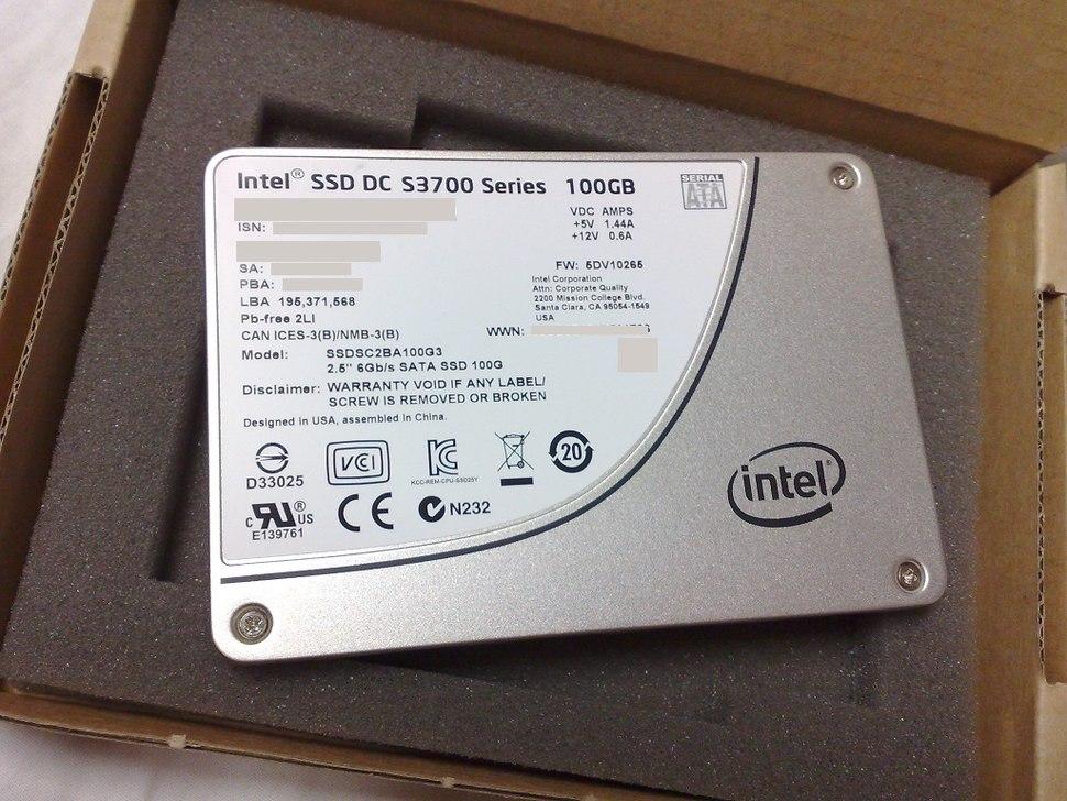 Intel DC S3700 SSD series, top side of a 100 GB SATA 3.0 model