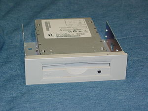 Zip drive - An internal Zip drive outside of a computer but attached to a 3.5-inch to 5.25-inch drive bay adapter