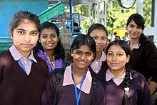 Girls at a 2014 International Day of the Girl Child Event.