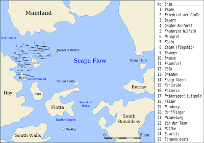 A map designating the locations where the German ships were sunk.