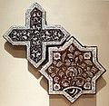 Iran, kashan, mattonelle a stella e croce, dinastia ilkhanide, 1262-63.jpg