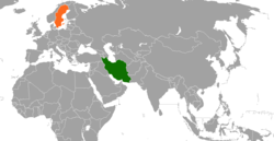 Map indicating locations of Iran and Sweden