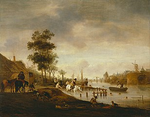 River Landscape with Swimmers