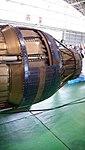 Ishikawajima-Harima F100-IHI-220E turbofan engine(cutaway model) exhaust nozzle left front view at JASDF Hamamatsu Air Base September 28, 2014.jpg