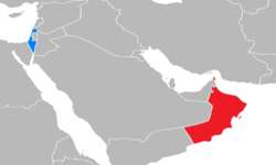 Map indicating locations of Israel and Oman