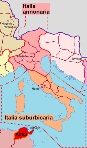 Roman Italy - Italia annonaria and Italia suburbicaria dioceses.