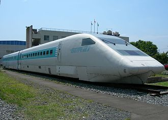 STAR21 - Preserved cars 953-5 and 953-1 at Sendai Shinkansen Depot, July 2009