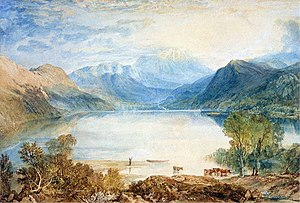 I Wandered Lonely as a Cloud - Ullswater in the English Lake District. Ullswater from Gobarrow Park, J. M. W. Turner, watercolor, 1819.